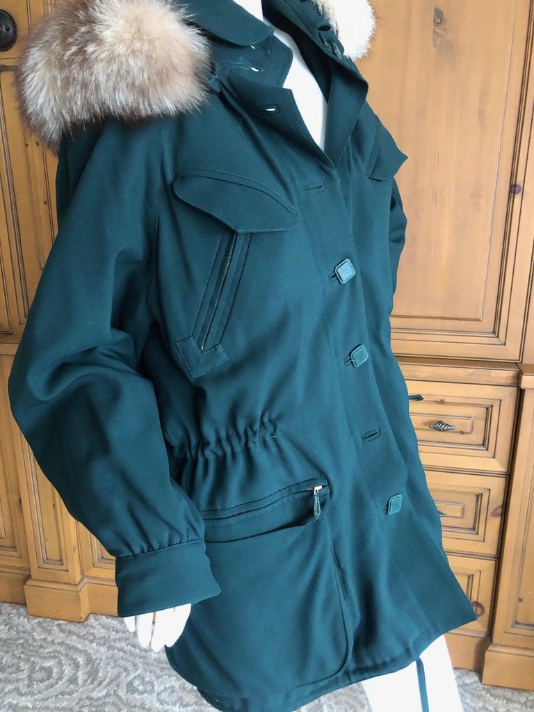 Hermes Paris Green Fur Lined Parka with Detachable Fox Trim Hood 3