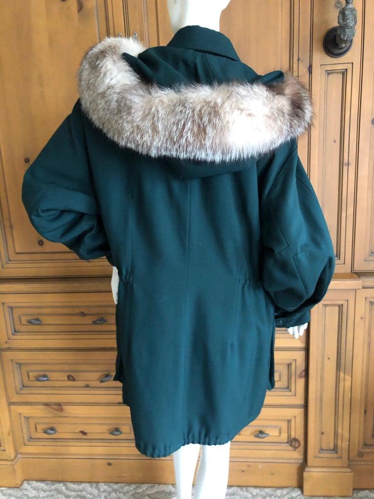 Hermes Paris Green Fur Lined Parka with Detachable Fox Trim Hood 4