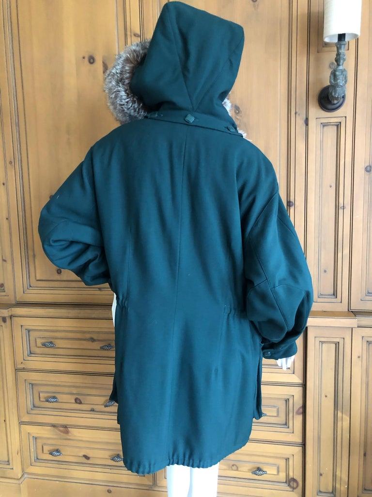 Hermes Paris Green Fur Lined Parka with Detachable Fox Trim Hood 5