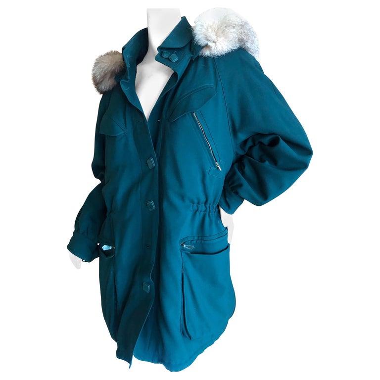 Hermes Paris Green Fur Lined Parka with Detachable Fox Trim Hood