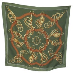 Hermes Paris Green Gold Brown Silk Scarf