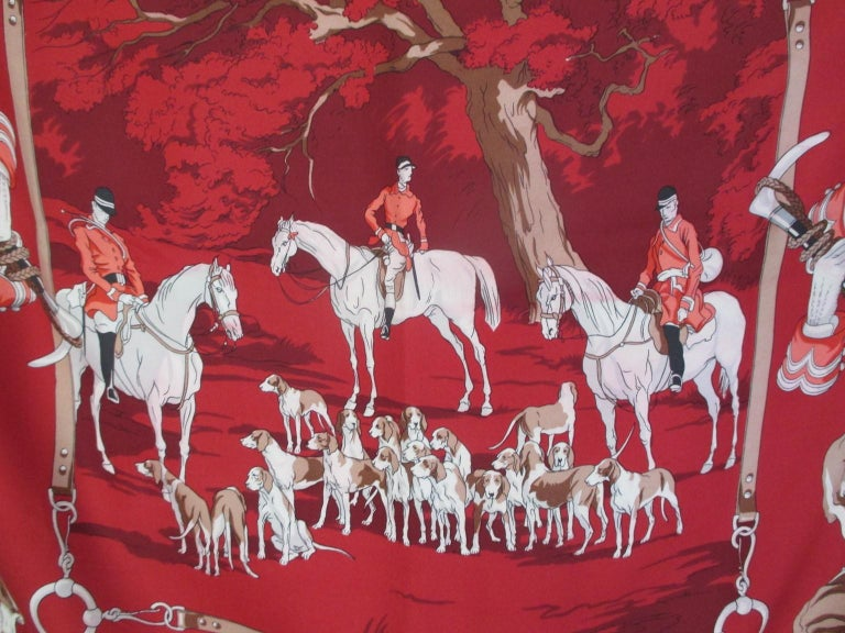 Hermes Paris Hunters Dogs Red Silk Scarf  In Good Condition For Sale In Amsterdam, NL