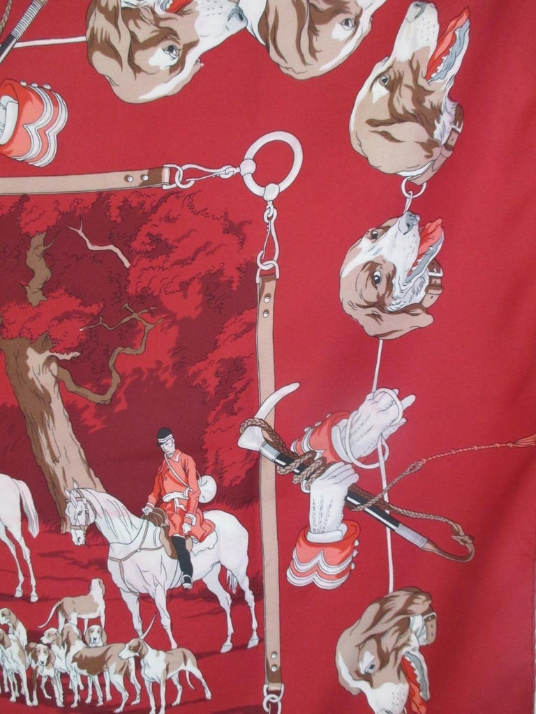 Hermes Paris Hunters Dogs Red Silk Scarf  For Sale 1
