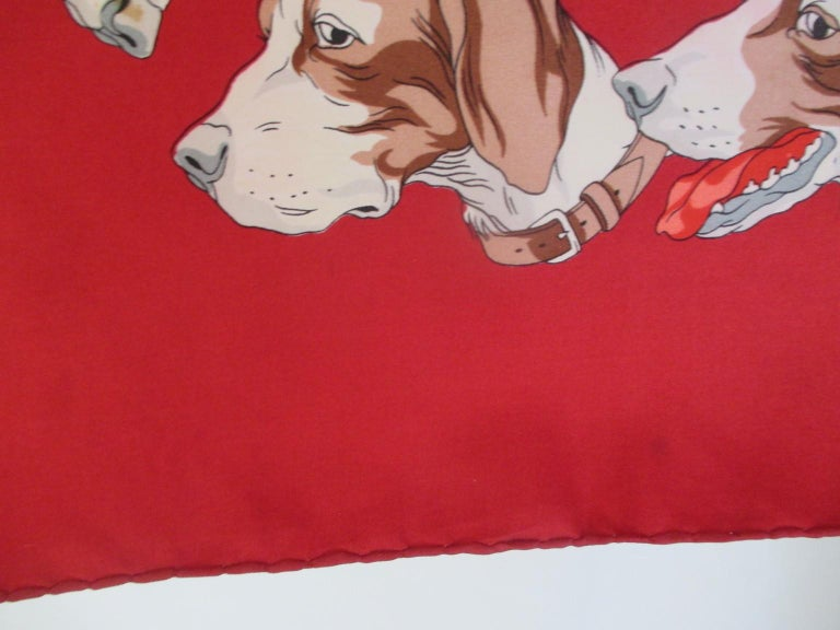 Hermes Paris Hunters Dogs Red Silk Scarf  For Sale 2