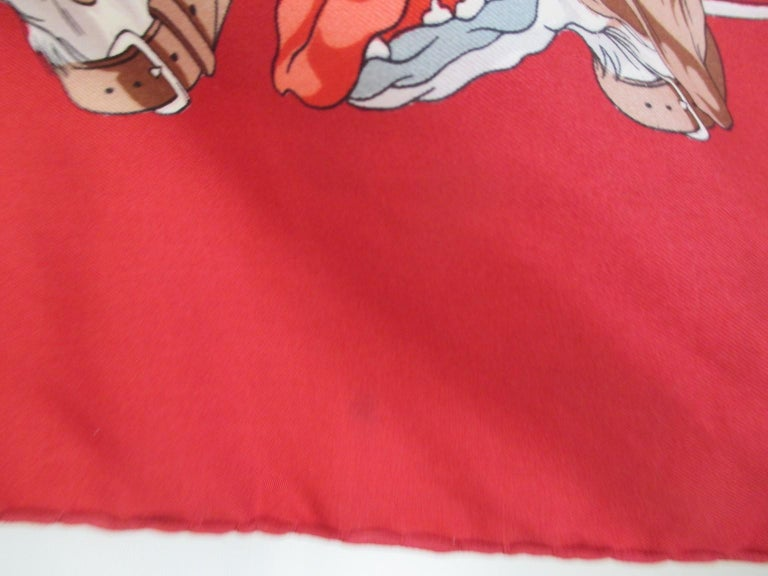 Hermes Paris Hunters Dogs Red Silk Scarf  For Sale 4