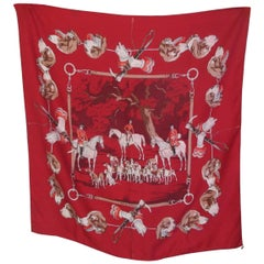 Hermes Paris Hunters Dogs Red Silk Scarf