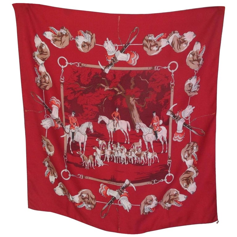 Hermes Paris Hunters Dogs Red Silk Scarf  For Sale