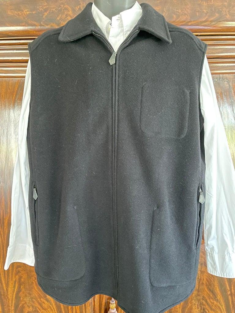 Hermes Paris Men's Black Double Face Cashmere Zip Front Vest For Sale 2