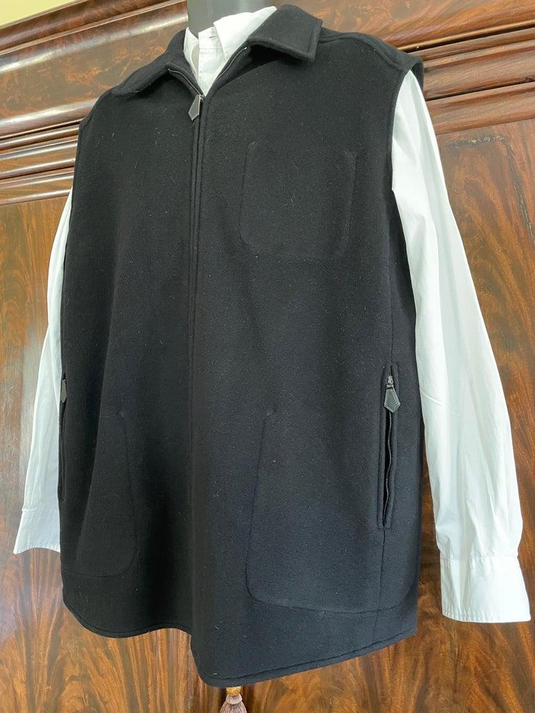 Hermes Paris Men's Black Double Face Cashmere Zip Front Vest  Sz 42 , runs large Chest 48