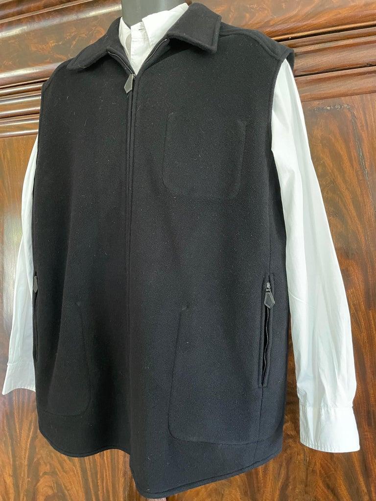 Hermes Paris Men's Black Double Face Cashmere Zip Front Vest For Sale 4
