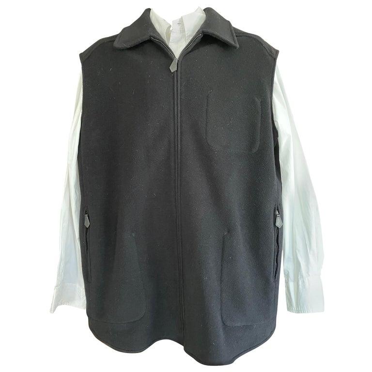 Hermes Paris Men's Black Double Face Cashmere Zip Front Vest For Sale