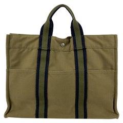 Hermes Paris Military Green Cotton Fourre Tout MM Tote Bag