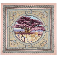 "Hermes Paris pink cashmere and silk extra large square shawl scarf, 54"" x 54"""