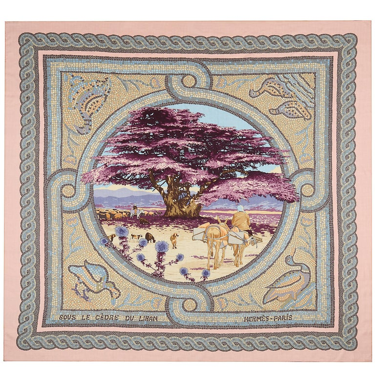 "Hermes Paris pink cashmere and silk extra large square shawl scarf, 54"" x 54"" For Sale"