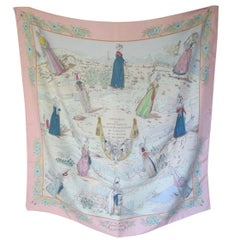 "Hermes Paris Pink Silk Scarf "" Normandy Costumes  ""by Zoe Pauwels"