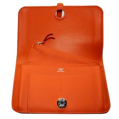 HERMES Paris Poppy Orange Dogon Duo Wallet And Change Purse