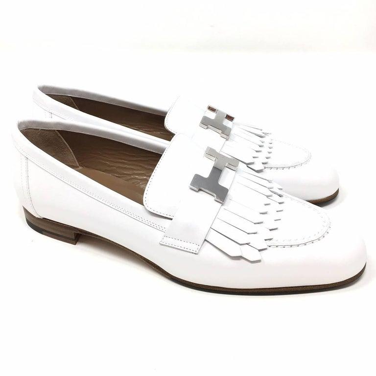 fdd36b464d4 Elegant Shoes Royal Loeafer Moccasin Hermes Paris in Soft Calfskin Colour  White ( Blanc) .