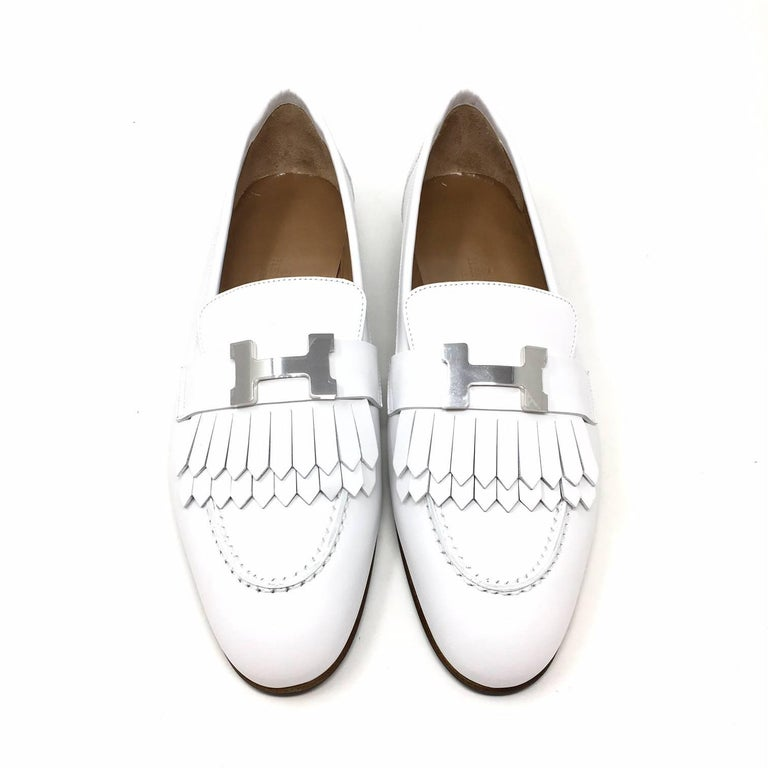 71db4b00959 Gray Hermes Paris Royal Loafer Shoes Calfskin Colour White Palladium-Plated H  Buckle For Sale