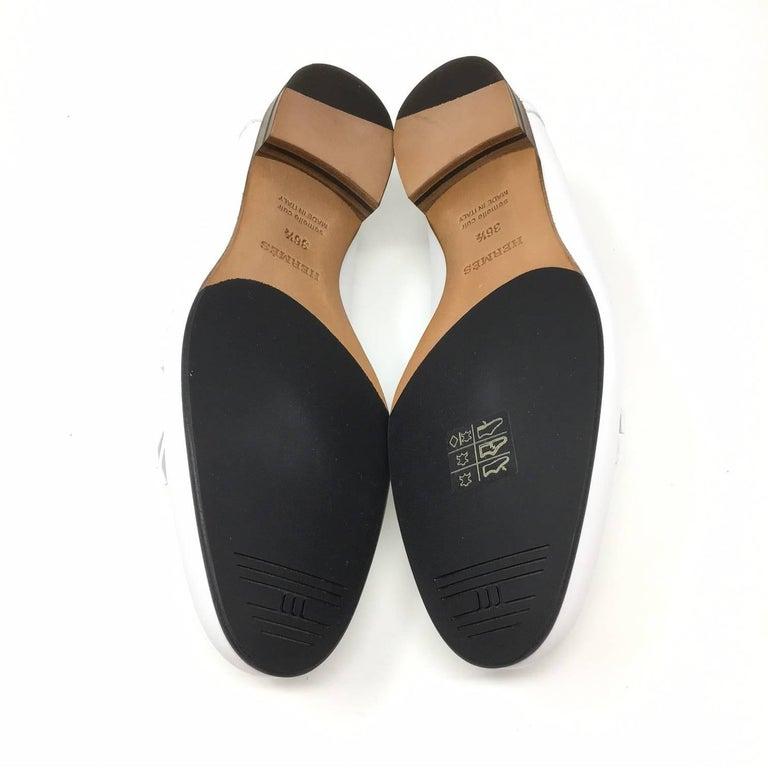 20d97ba8722 Hermes Paris Royal Loafer Shoes Calfskin Colour White Palladium-Plated H  Buckle For Sale 1