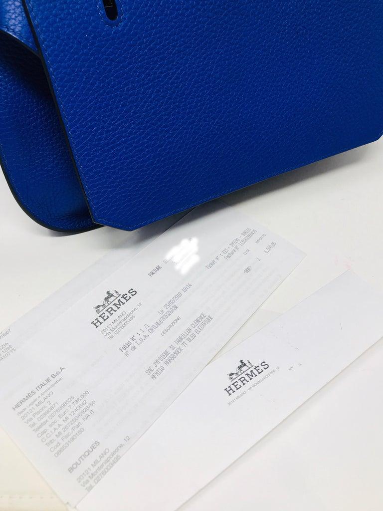 HERMES PARIS Sac Jipsyere Blue Electric brand new, 2018  For Sale 6
