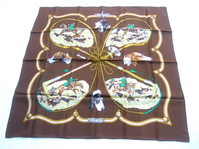 Hermes Paris Silk Equestrian Hunt Scene Hand Rolled Scarf c 1990s For Sale 7
