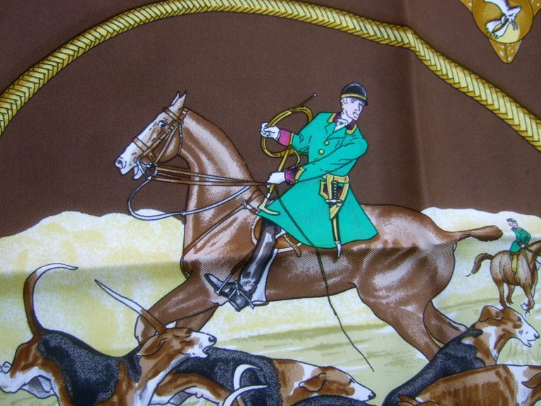 Hermes Paris Silk Equestrian Hunt Scene Hand Rolled Scarf c 1990s For Sale 9