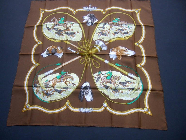 Hermes Paris Silk Equestrian Hunt Scene Hand Rolled Scarf c 1990s For Sale 12