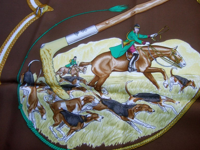 Hermes Paris Silk Equestrian Hunt Scene Hand Rolled Scarf c 1990s In Excellent Condition For Sale In Santa Barbara, CA
