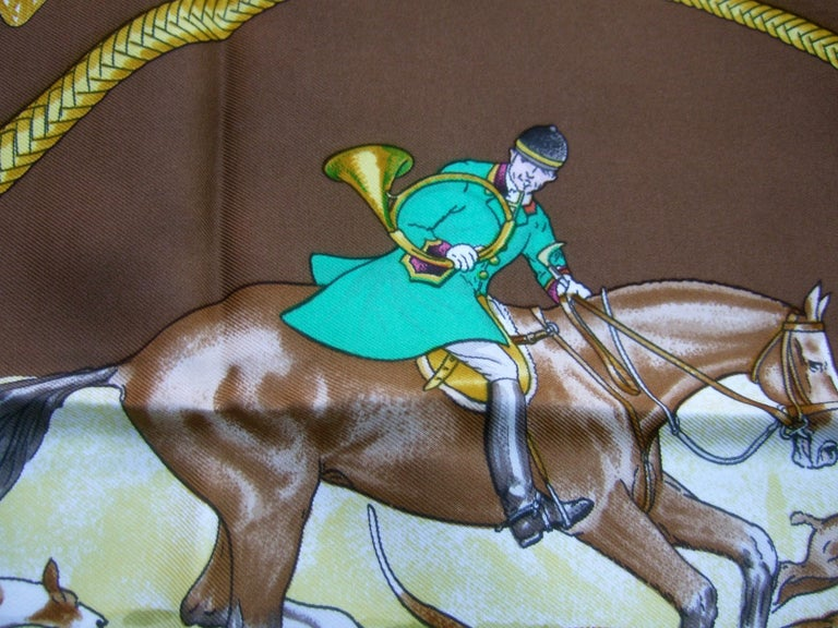 Hermes Paris Silk Equestrian Hunt Scene Hand Rolled Scarf c 1990s For Sale 1