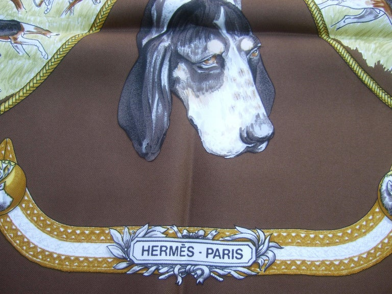 Hermes Paris Silk Equestrian Hunt Scene Hand Rolled Scarf c 1990s For Sale 2