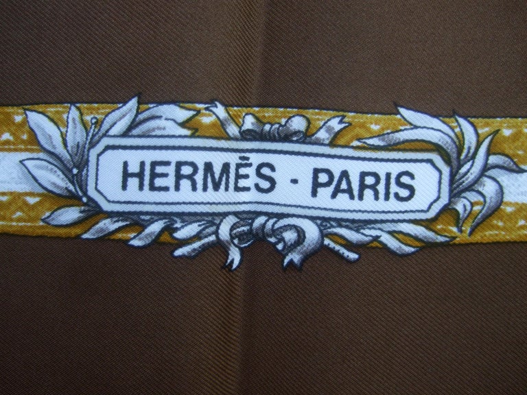 Hermes Paris Silk Equestrian Hunt Scene Hand Rolled Scarf c 1990s For Sale 4