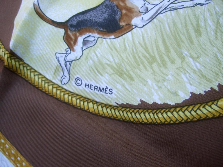 Hermes Paris Silk Equestrian Hunt Scene Hand Rolled Scarf c 1990s For Sale 5