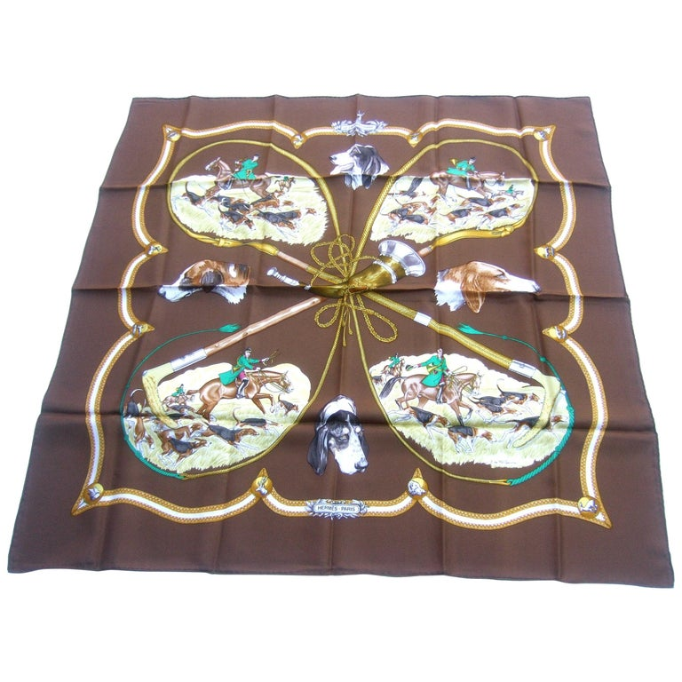 Hermes Paris Silk Equestrian Hunt Scene Hand Rolled Scarf c 1990s For Sale