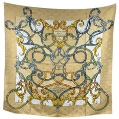 Hermes Paris Silk Jacquard Scarf L'Instruction Du Roy 1993 D'Origny