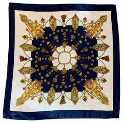 Hermes Paris Silk Scarf of Medallions and Tassels