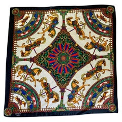 Hermes Paris Silk Scarf with Carousel Horse Pattern
