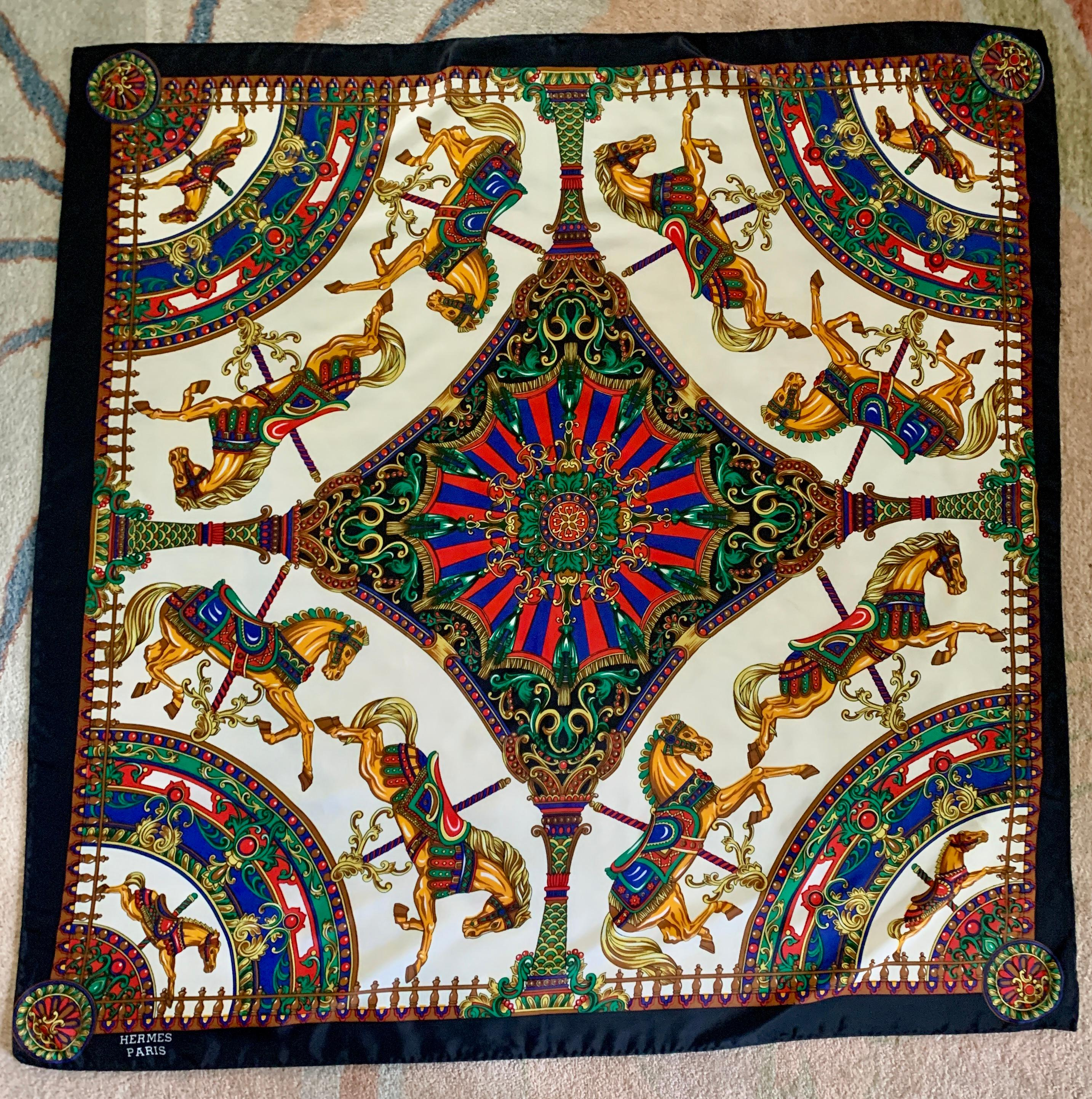 Hermes Paris Silk Scarf With Carousel Horse Pattern For Sale At 1stdibs