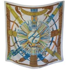 """Hermes Paris Silk Turquoise Scarf """" Ceintures et Lines """" by Toutsy"""