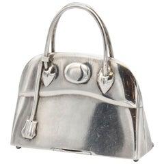 Hermès Paris Sterling Silver Bolide Bag Pill Box Charm Pendant