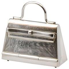 Hermes Paris Sterling Silver Kelly Bag Pill Box Charm Pendant