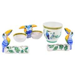 """Hermes Paris """"Toucans Moustiers"""", a Salt Cellar, Two Menu Holders, a Goblet"""