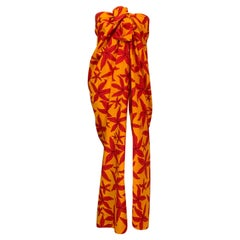 Hermes, Paris Tropical Starfish Patterned Red and Yellow Pareo, Wrap or Shawl