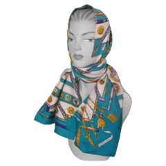 """HERMES Paris Turquoise Long Double Face Silk Scarf """"Petite Main"""""""