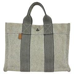 Hermes Paris Vintage Beige and Black Cotton Fourre Tout PM Tote Bag