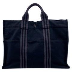 Hermes Paris Vintage Black and Grey Canvas Fourre Tout MM Bag Tote