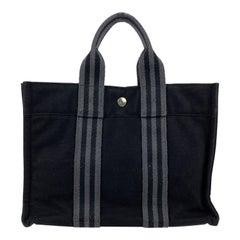 Hermes Paris Vintage Black and Grey Cotton Fourre Tout PM Bag
