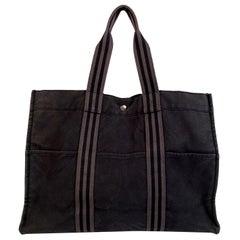 Hermes Paris Vintage Black Cotton Canvas Tote Handbag Fourre Tout GM