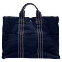Hermes Paris Vintage Black Cotton Fourre Tout MM Bag Tote