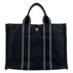 Hermes Paris Vintage Black Cotton Fourre Tout PM Tote Bag