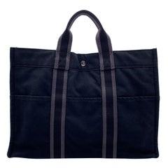 Hermes Paris Vintage Black Gray Cotton Fourre Tout MM Tote Bag